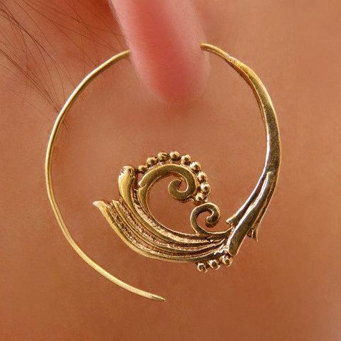 a6bc4d708297f Brass Earrings - Brass Spiral Earrings - Gypsy Earrings - Spiral Jewelry -  Brass Jewelry - Ethnic Earrings - Ethnic Jewelry