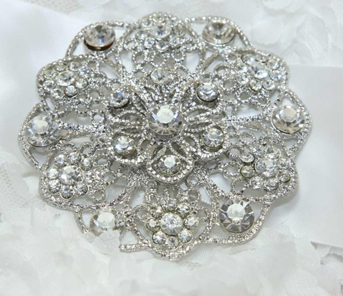 Crystal Wedding Gift: Round Flower Bouquet Crystal Rhinestone Wedding Bridal