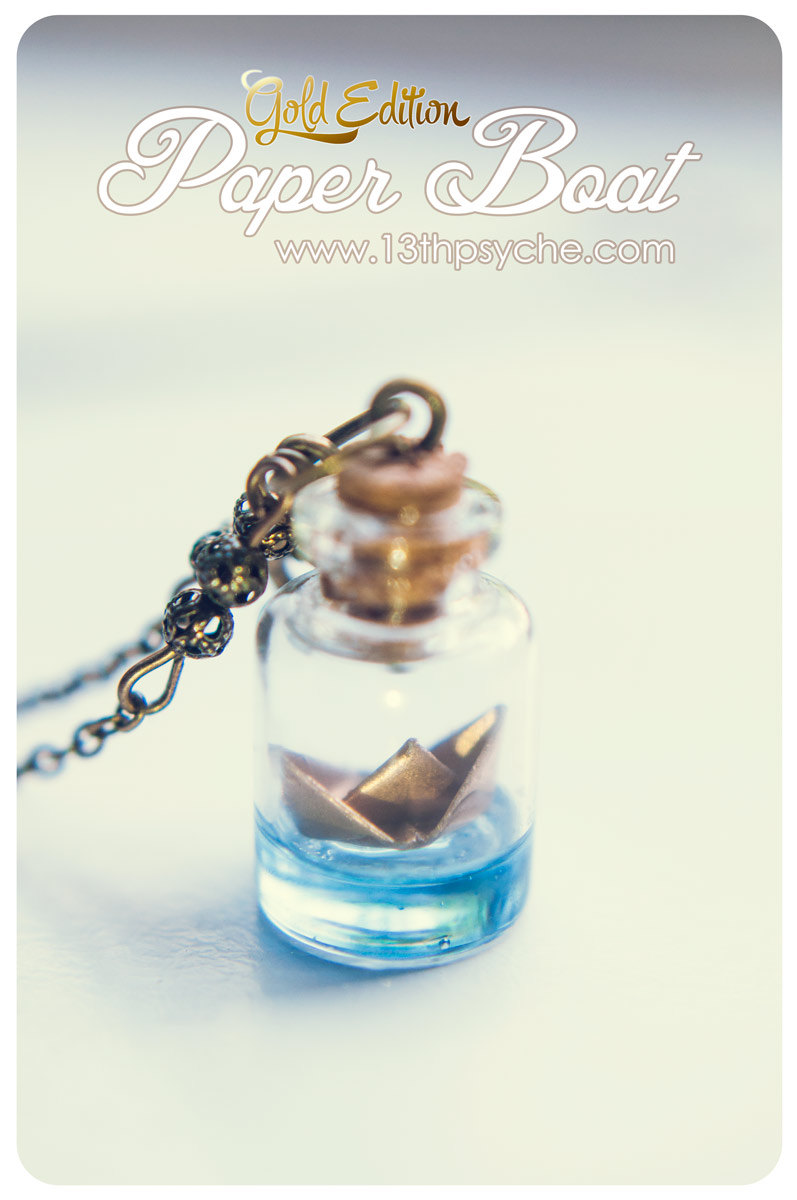12ad040cdadb Golden Paper Boat bottle Necklace.Glass Bottle Pendant necklace.Ocean  necklace Nautical, Glass Vial Necklace gold origami boat pendant