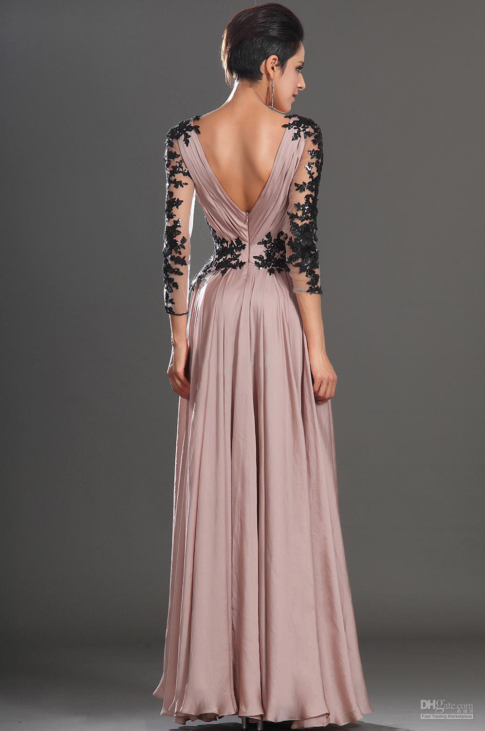 Long Prom Dress Dusty Rose Sleeves V