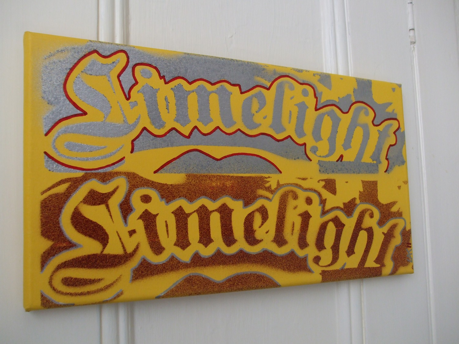 Limelight typography painting,stencil art,spray paint,yellow,silver ...