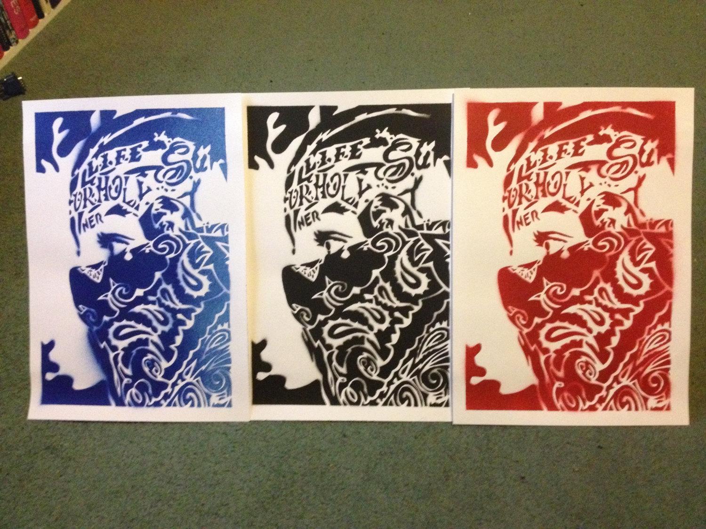 bandana man paintings on card stencil art spray paints gangster
