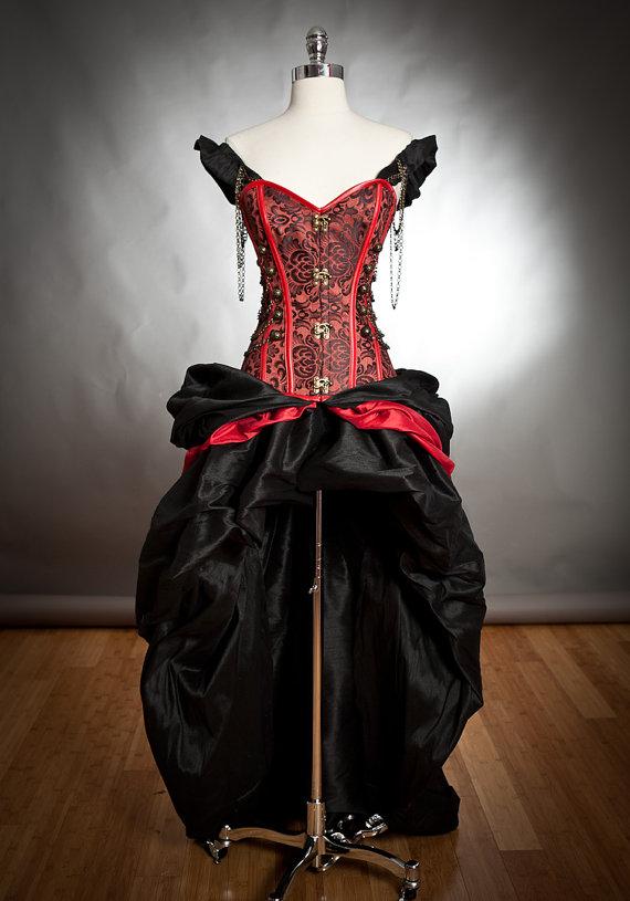 Black Red Steampunk Burlesque Corset Dress On Storenvy
