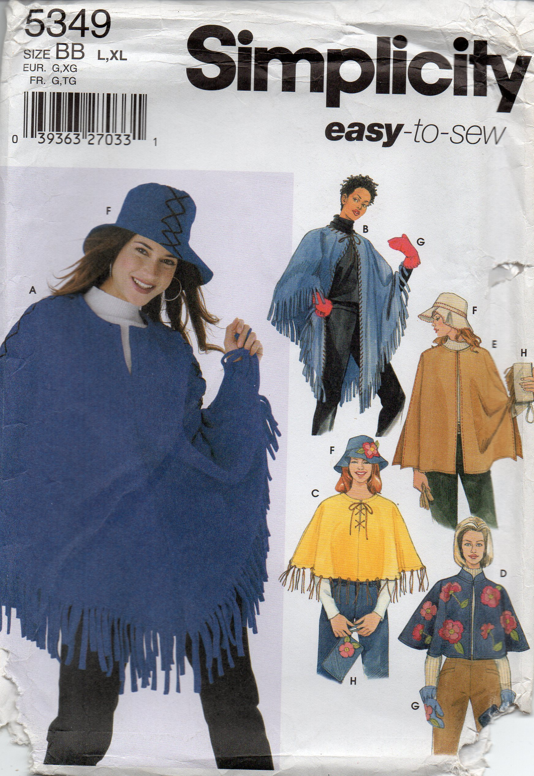 c3736aa80 Simplicity 5349 Misses Poncho Hat Mittens and Purse Pattern Sizes 18 - 24