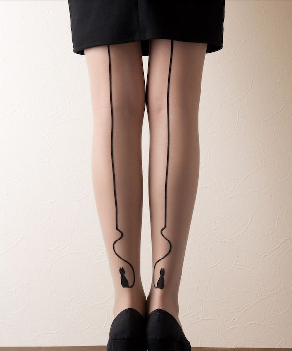 Cat strip tattoo tights/stockings