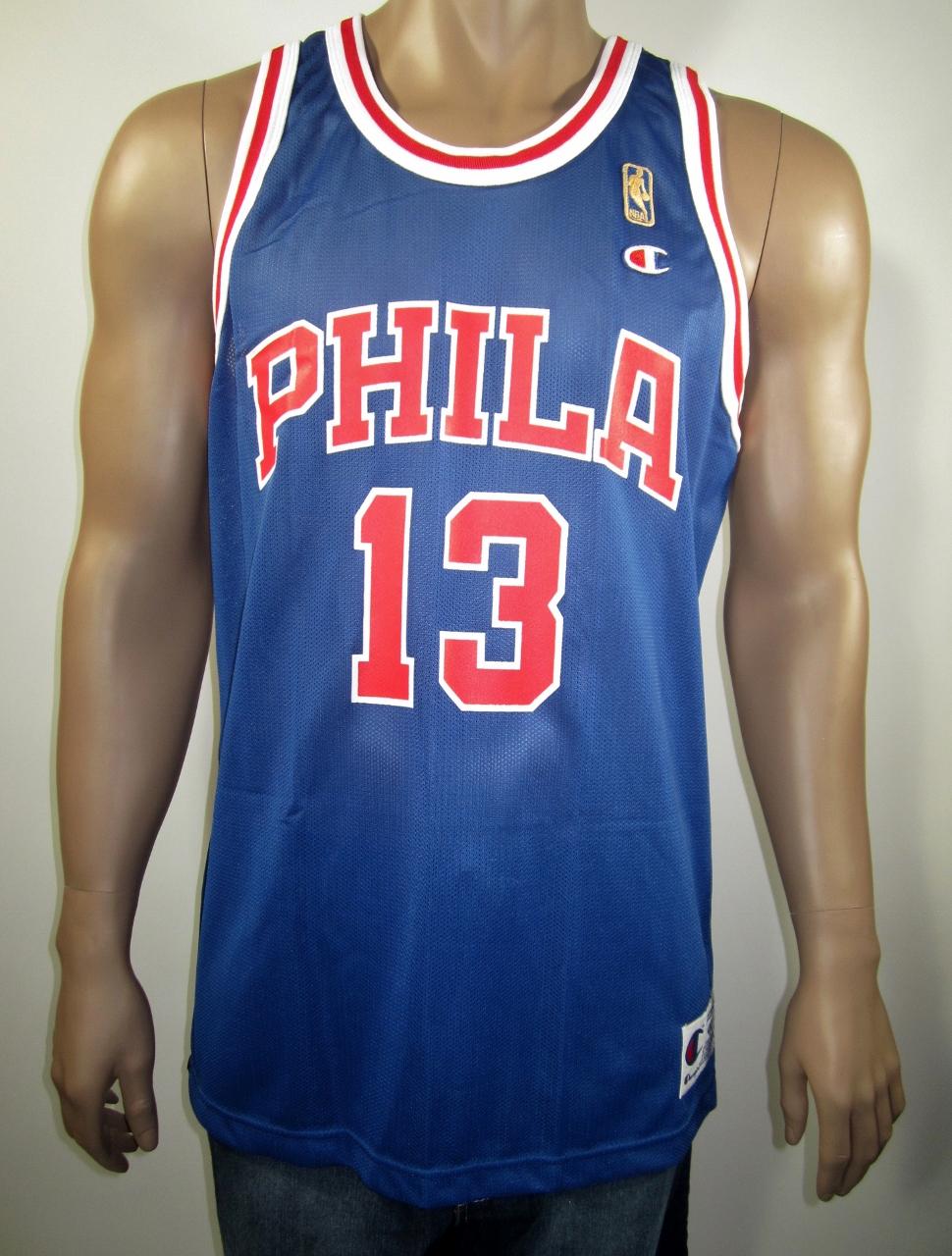 9c72acfe3c3 Wilt Chamberlain Philadelphia Warriors NBA 50 Gold logo Champion Jersey 44  NWT