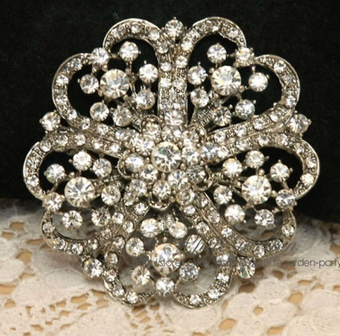 wedding cake brooches rhinestone flower wedding bridal cake silver 22107