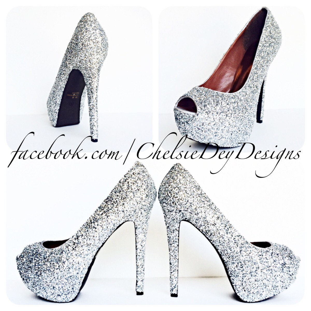 96a4a35415a Silver Glitter High Heels, Gray Peep Toe Platform Pumps, Sparkly Prom Shoes