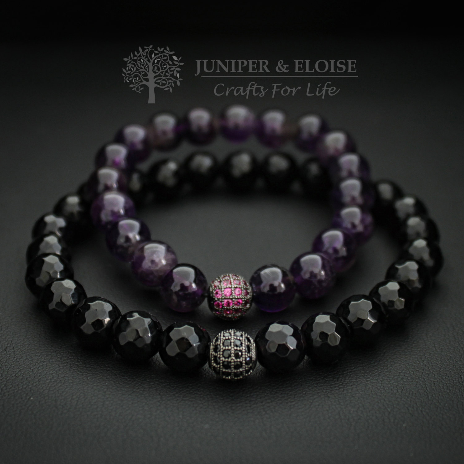 Couples Bracelets Lovers Bracelet 8 Mm Onyx And Amethyst 2x