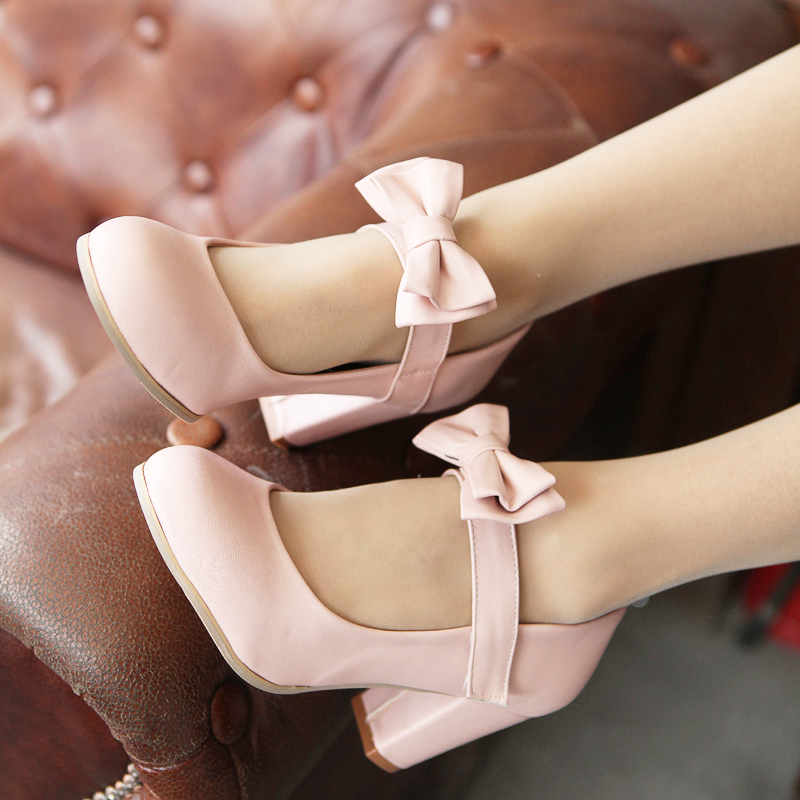 160b8abe5d9 Sweet Color Candy Womens Mary Janes Pumps Heel Lolita Bowknot Shoes Plus  Size
