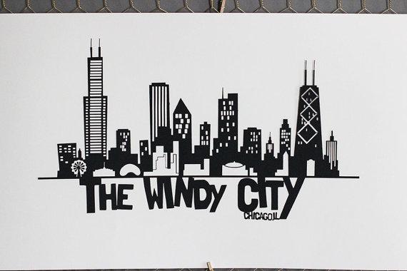 Chicago PaperCut Skyline Wall Art   Skyline Wall Decor - Thumbnail 1 ... & Chicago PaperCut Skyline Wall Art   Skyline Wall Decor ...