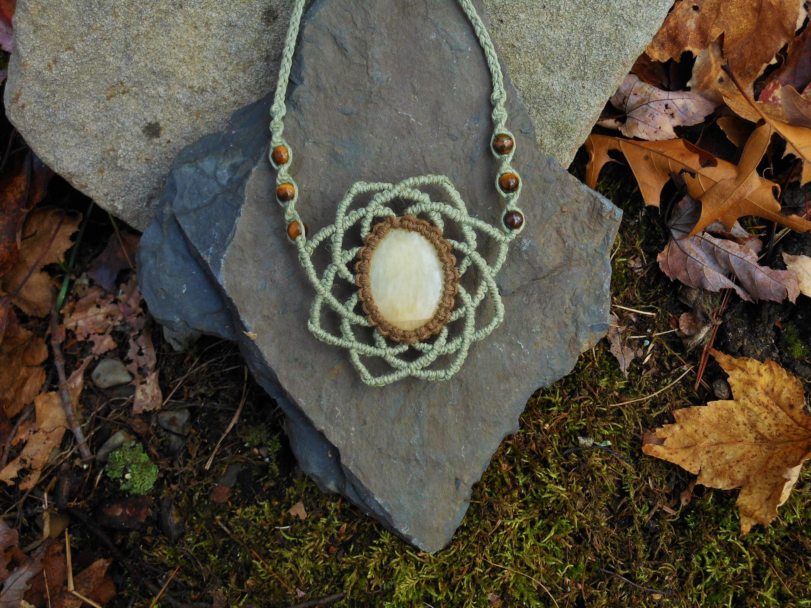 Calcite Flower Of Life Macrame Hemp Necklace Rhihemptions Online Store Powered By Storenvy