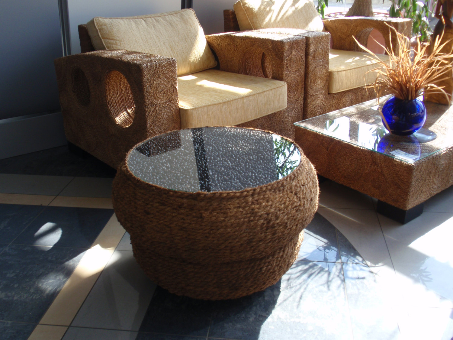 Coffee table made by 2 recycled motorcycle tyres coconut rope and