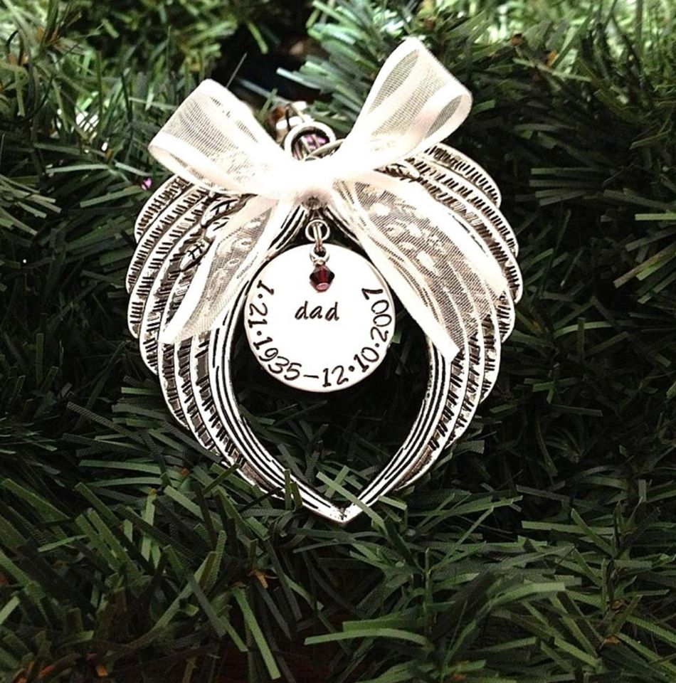 Image of Christmas Ornament - Memorial - In Memory Of Dad - Always In My Heart Mom - Wings With Swarovski Crystal Birthstone