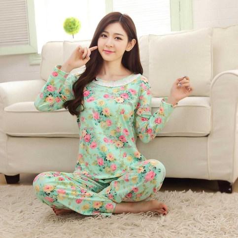 Autumn Winter Womens Pajama Sets O Neck Long Sleeve
