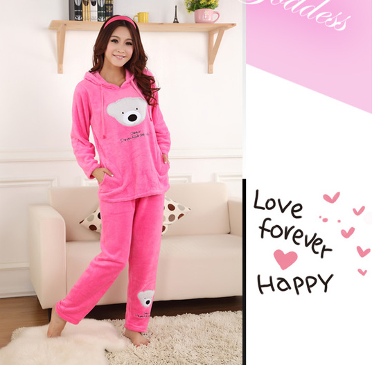 e7f5a2eba ... Women's coral fleece nighty sleepwear cute bear pattern autumn & winter  ladies long-sleeve pajamas