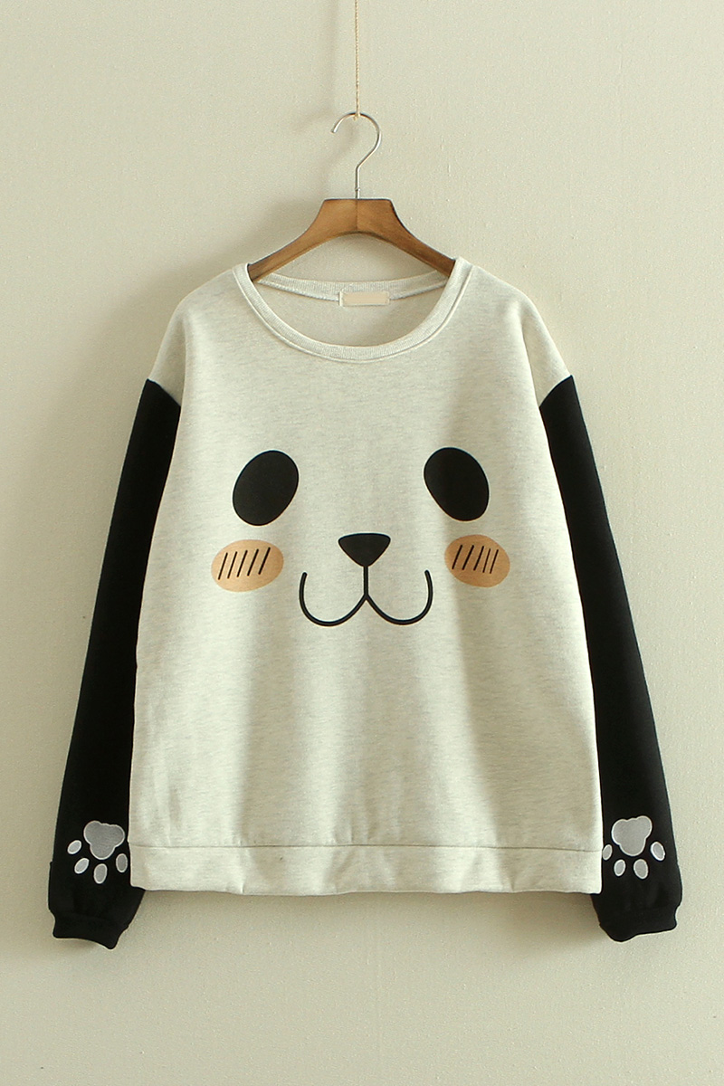 375a7574 Lovely Panda Autumn Girl Sweatershirt Two Colors · Sweetbox Store ...
