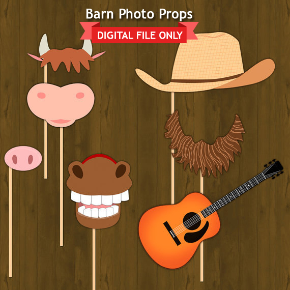 Barn Or Barnyard Birthday Party Decorations Photo Booth Props