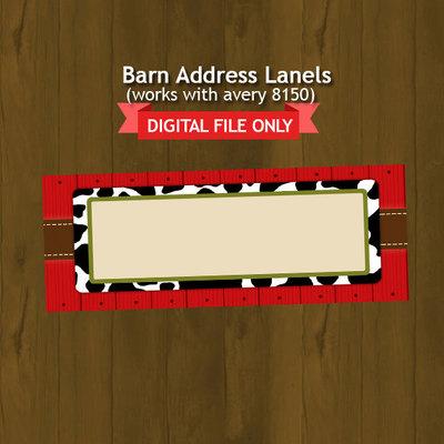 barn barnyard theme address labels avery 8160 splashbox printables