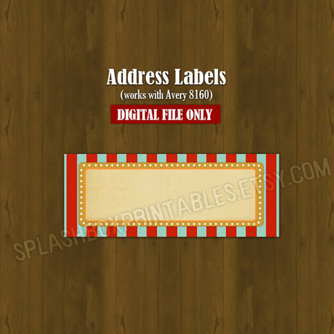 Vintage circus birthday party baby shower address labels for Avery 8160 template open office