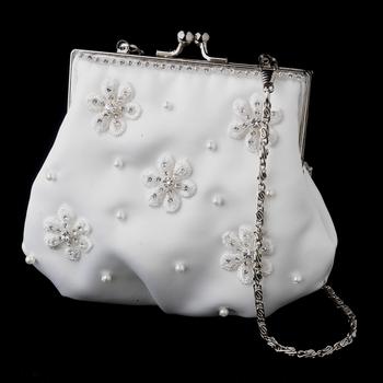 Ivory Pearl & Crystal Flower Bridal Purse 1970 (37185528) photo