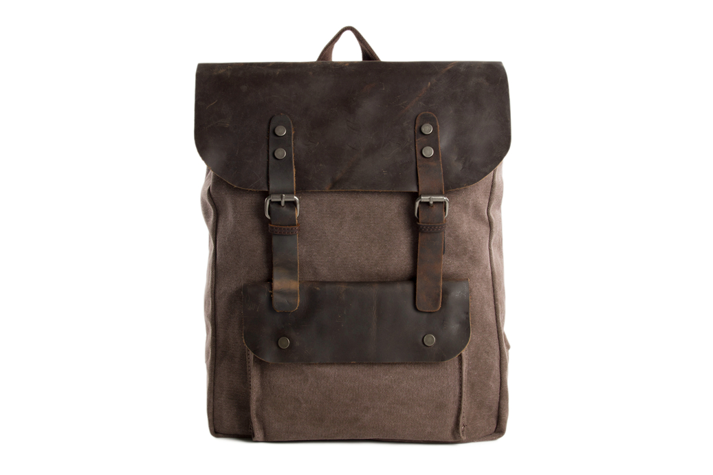 Canvas Leather Backpack / Casual Backpack / Rucksack / School Backpack 6876A