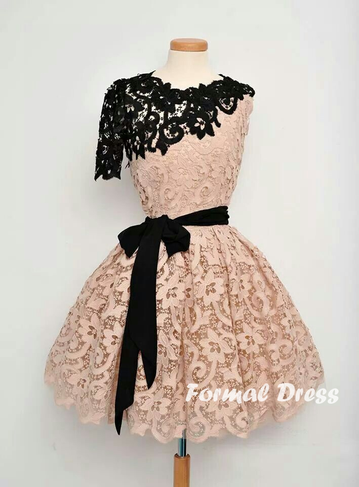 Chic A Line Champagne And Black Lace Short Dress Formal Dress
