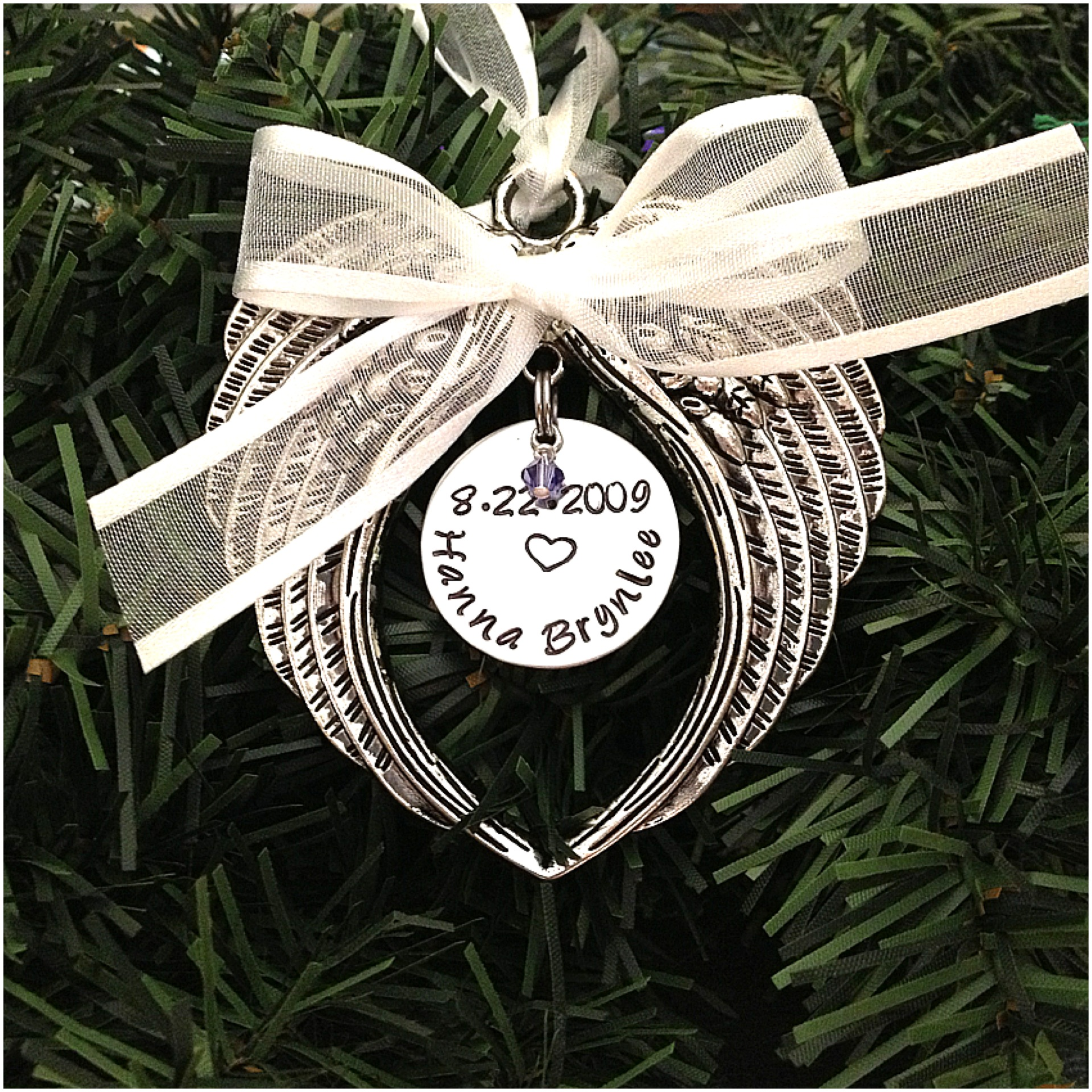 Image of Hand Stamped Angel Baby Ornament First Christmas In Heaven With Swarovski Crystal Birthstone