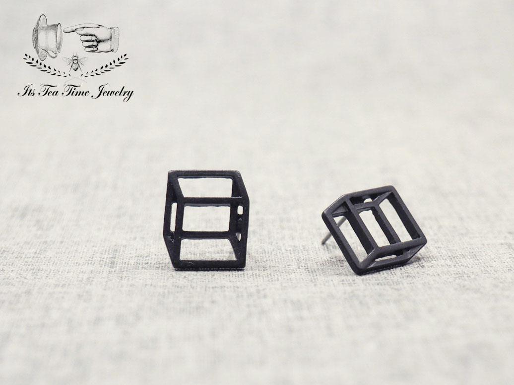 5b4e7e7e2 Simple and chic Black 3D Square cube stud earrings, geometric 3d earring,  dangle earrings