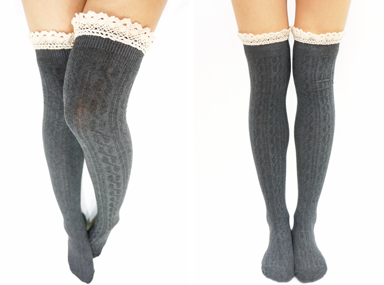 347eb2b91ddd3 Comfy Lace Trim Knit Thigh High Boot Socks- Dark Grey · Sandysshop ...