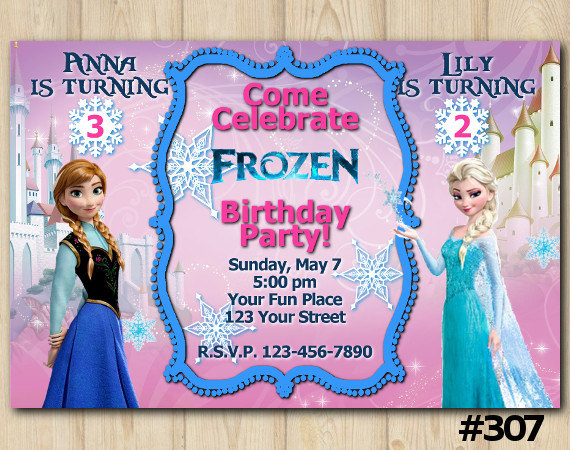 Joint Twins Invitation Frozen Anna Birthday Party Custom Printable File DIY307