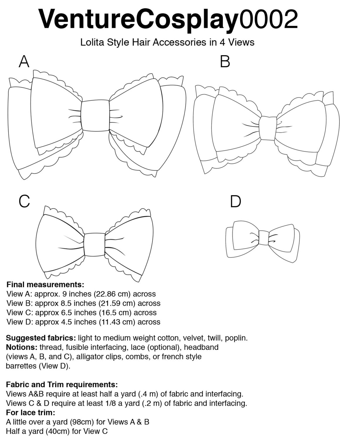 graphic relating to Printable Sewing Patterns identified as Printable Sewing Routine and Information for EGL Lolita Style and design Bows within 4 Thoughts marketed as a result of adorpheus