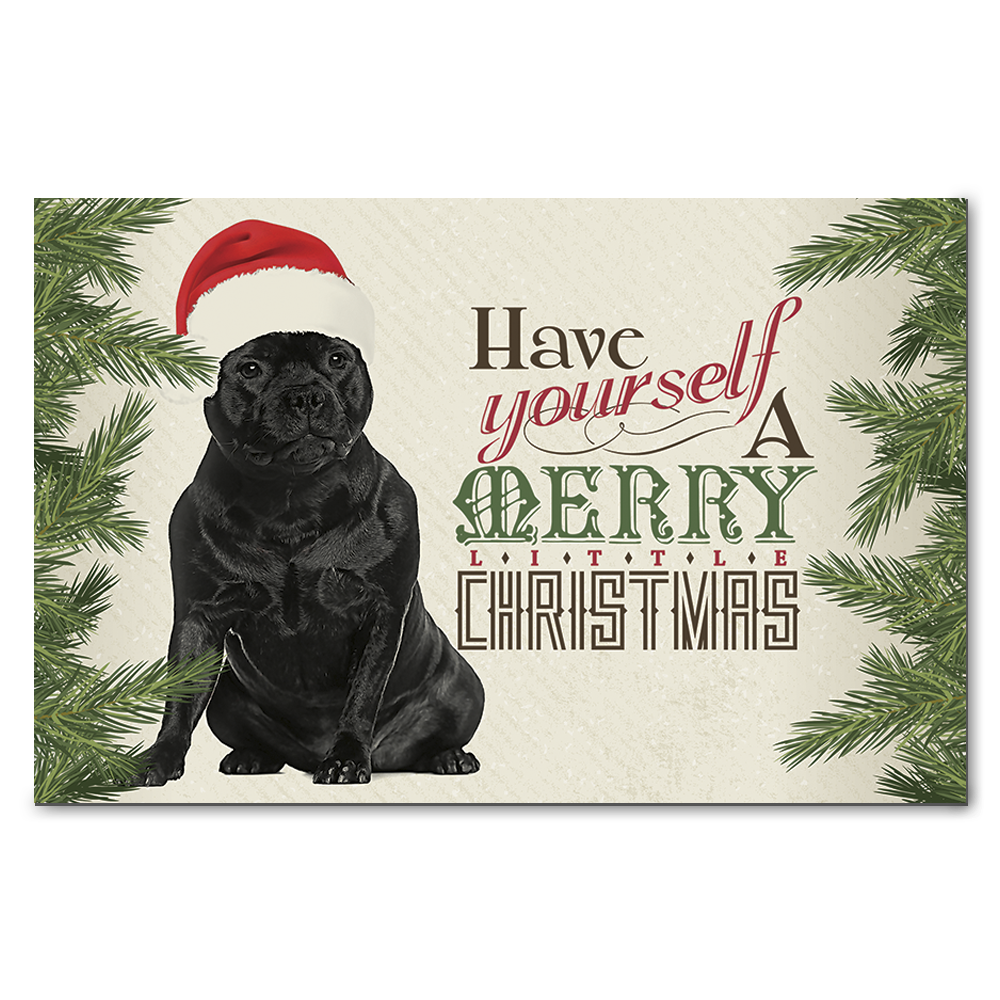 Staffordshire Bull Terrier Merry Little Christmas Greeting Cards on ...
