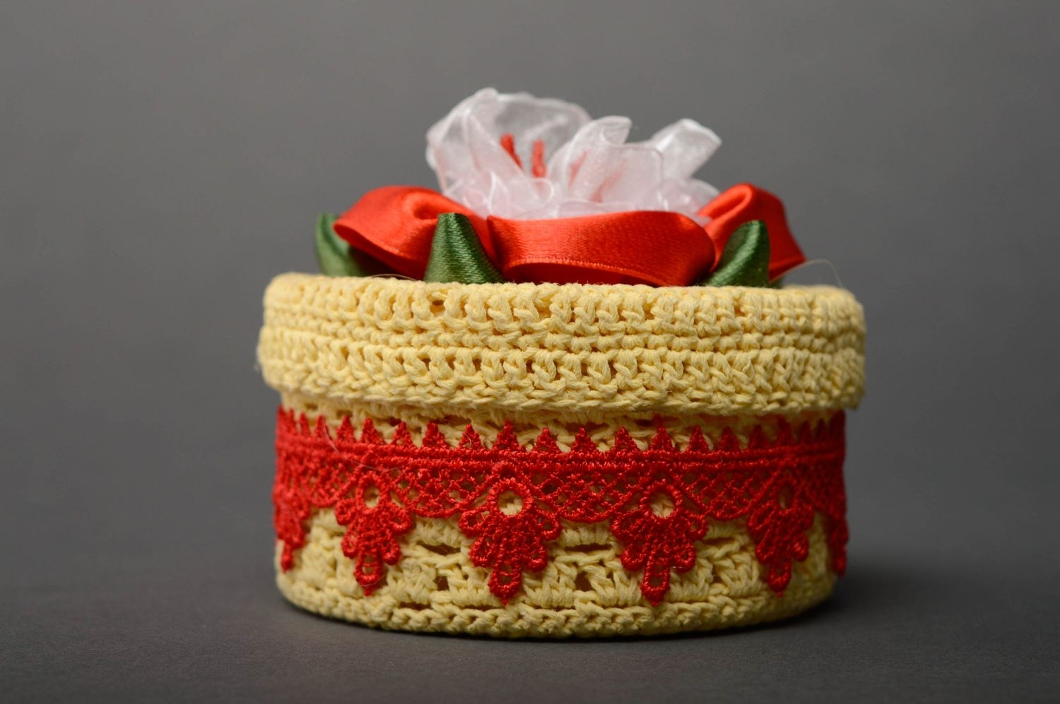Handmade thread box with lace and ribbons