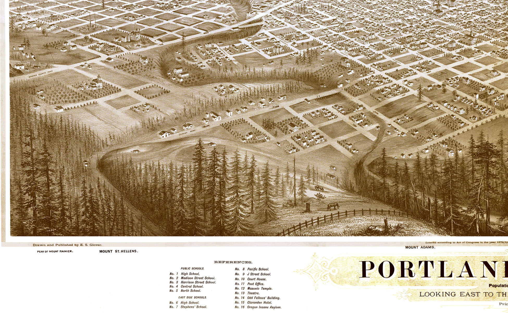 Portland, Oregon in 1879 - Bird's Eye View Map, Aerial Map, Panorama,  Vintage map, Antique map, Reproduction, History, Fine Art, Wall Art from  The Old