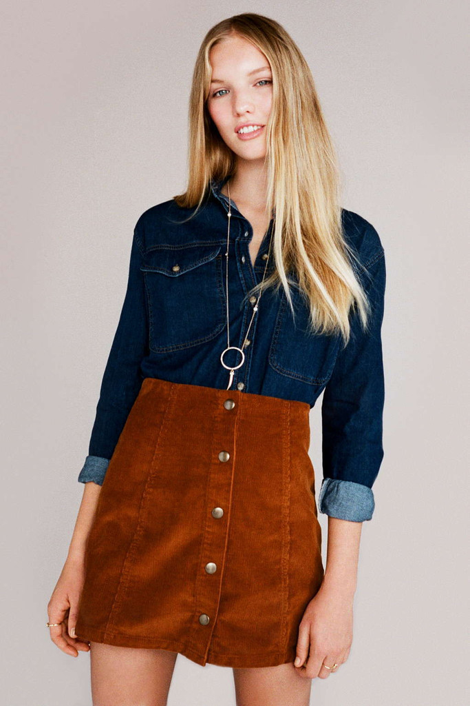 82272c0226 In the fall of the new front buckle A word skirt cultivate one's ...