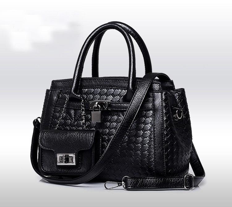 38ed814586 Genuine PU Leather Bag Women Brand Handbag Luxury Ladies Messenger Bag  Fashion Black Weaving Shoulder Bag
