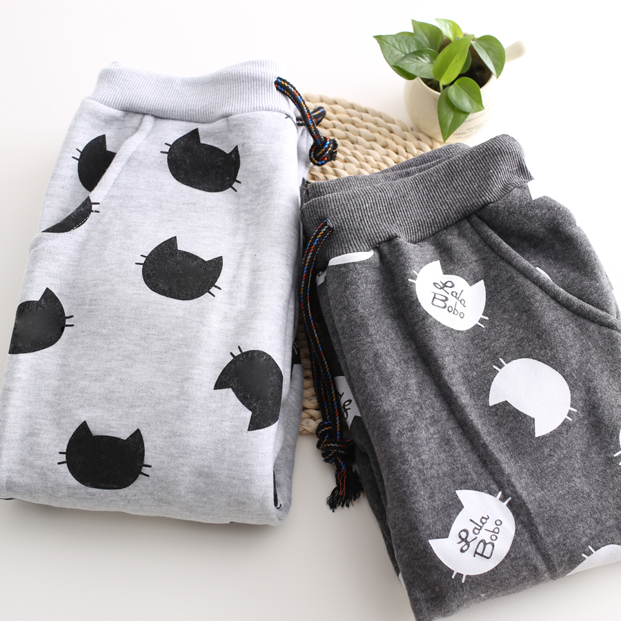 Cute Cat Print Fleece Jogger Pants