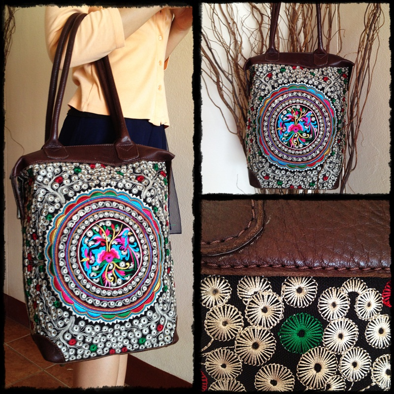 Big Circle Flower Colorful Leather Tote Bag embroidery of the Hill tribes  in Thailand (KPS8604 6843473d58b30