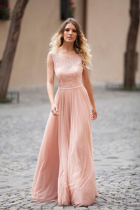 2016 Open Back Illusion Boat Neck Sleeveless Long Prom
