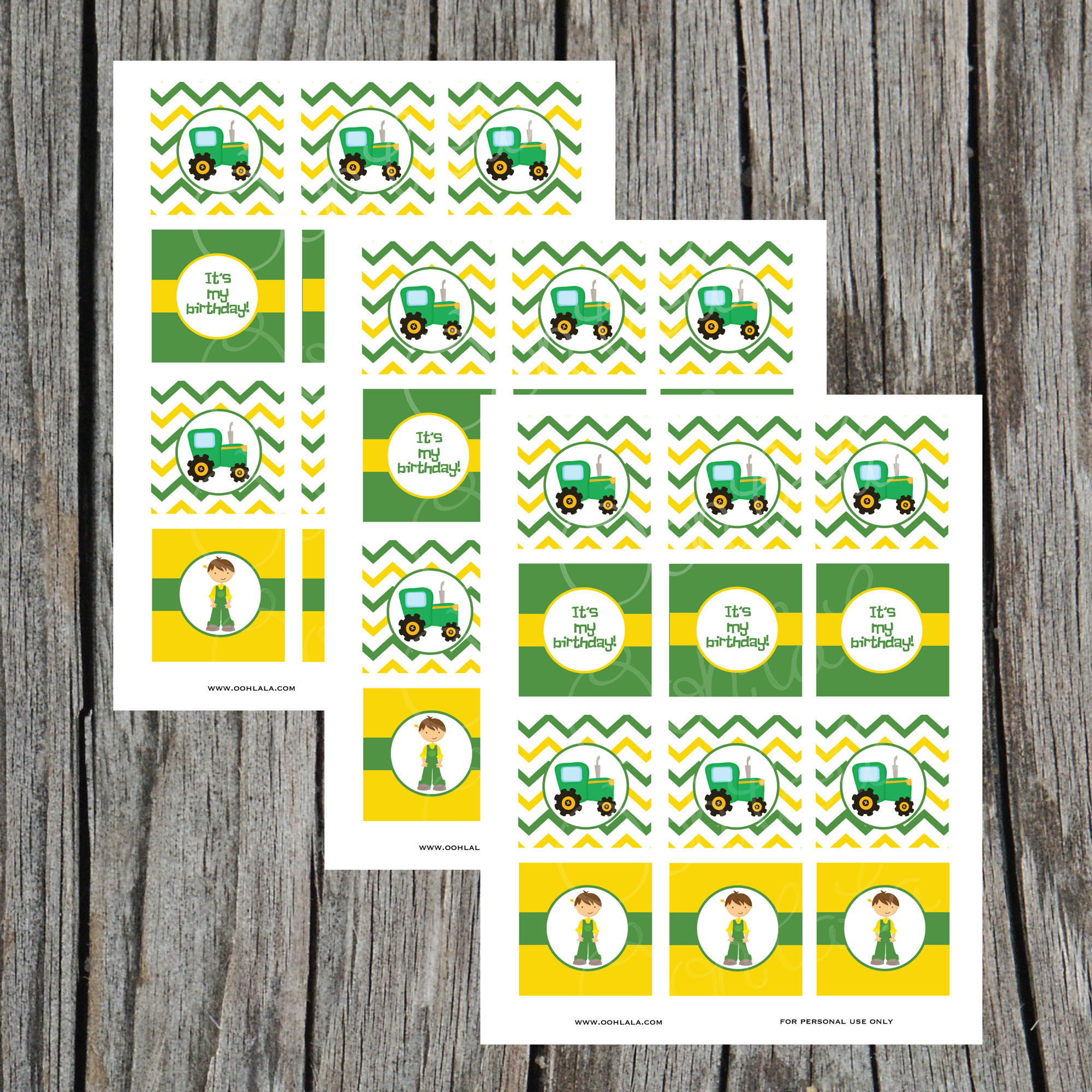John Deere Tractor Digital Printable Cupcake Toppers on Storenvy