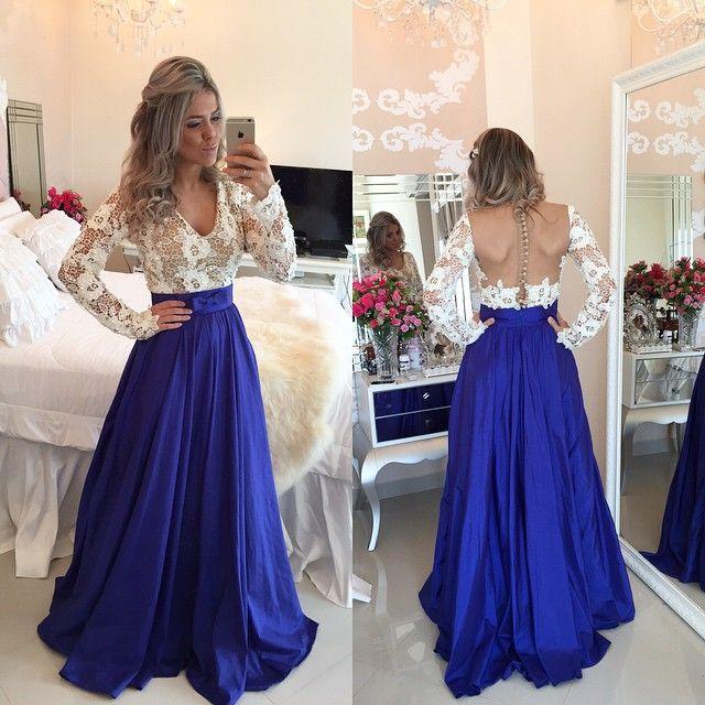 Real Elegant Royal Lace Long Prom Dresses, A-line Prom Dress,Evening ...