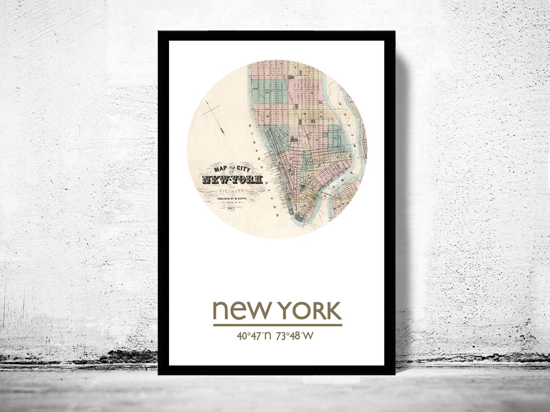 New York 2 City Poster City Map Poster Print On Storenvy