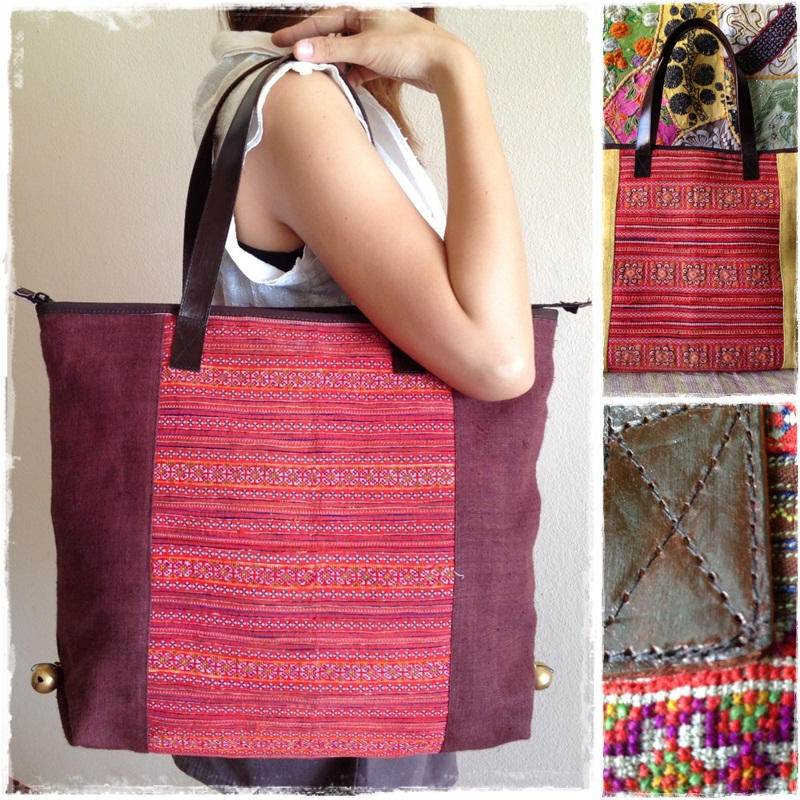 Brown Hemp Bag decorated with Hmong vintage fabric of the Hilltribes  Thailand KP1402-BR from Golden World