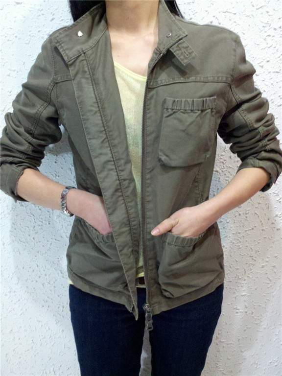 Womens Fashion Vintage Jeans Army Green Coat Jacket Outwear