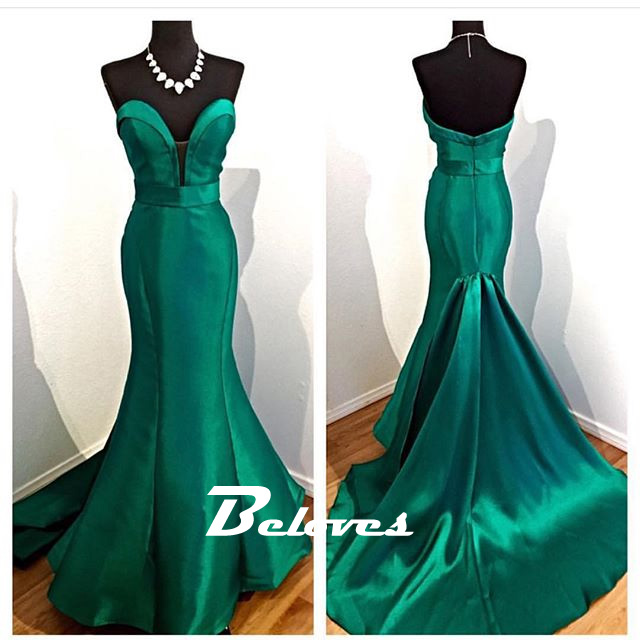 Emerald Green Satin Sweetheart Mermaid Gown With Sweep Train ...