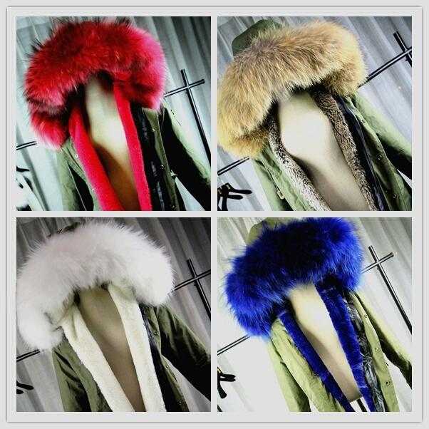 Womens Real Racoon Fur Parka Jacket
