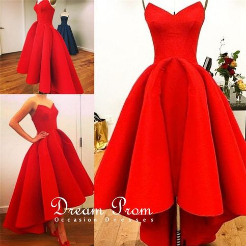 Sweetheart High Low Red Strapless Prom Dress Graduation