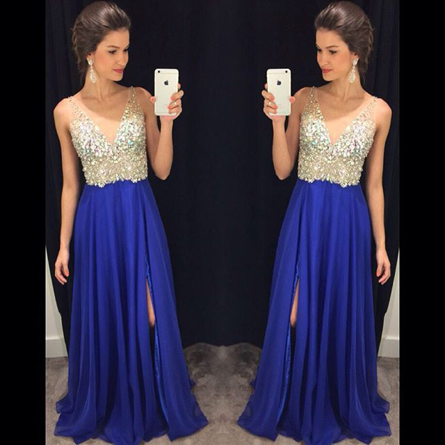 72147e0a59 V-neck Beaded Bodice Royal Blue Chiffon Skirt with Slip Prom Dress ...