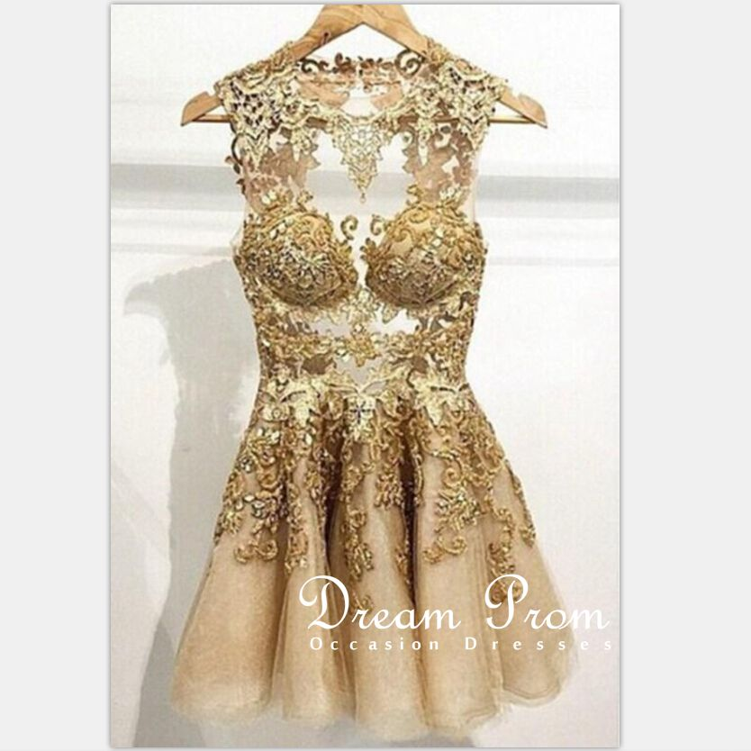 Mini Prom Dress, Gold A-line Tulle Lace Short Prom Gown,Homecoming ...